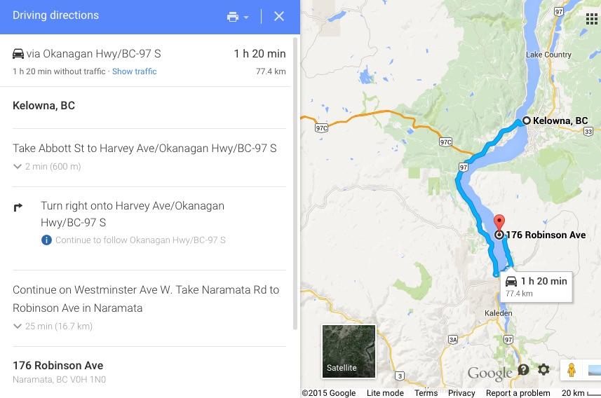 Kelowna, BC to 176 Robinson Ave Naramata, BC V0H 1N0 - Google Maps