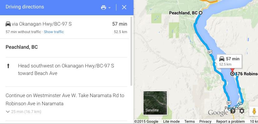 Peachland, BC to 176 Robinson Ave Naramata, BC V0H 1N0 - Google Maps