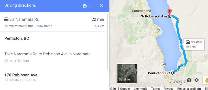 Penticton, BC to 176 Robinson Ave Naramata,BC V0H 1N0 Google_Maps