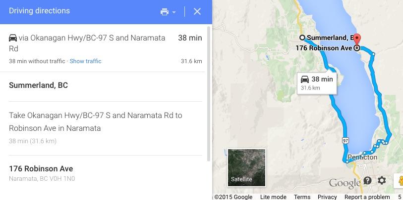 Summerland, BC to 176 Robinson Ave Naramata, BC V0H 1N0 - Google Maps